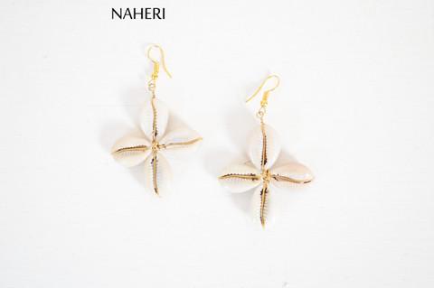 African cowrie shells earrings cross shaped