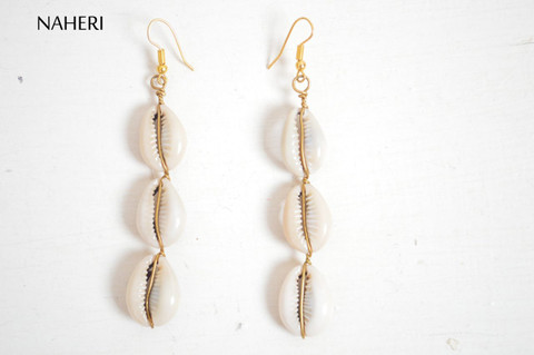 African cowrie shells earrings straight tribal jewelry