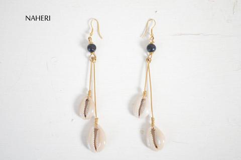 Handmade African cowrie sea shells earrings statement jewelry
