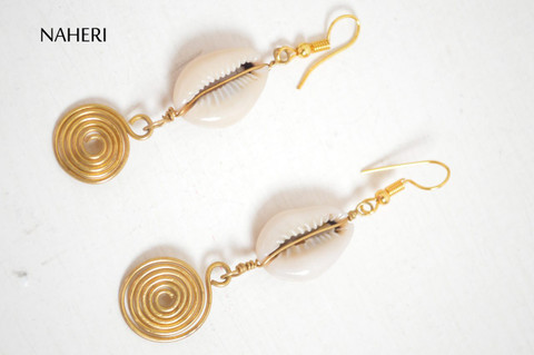 African handmade cowrie shells earrings with brass wire coil