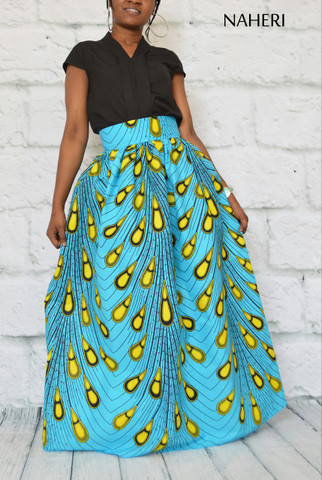African print maxi skirt peacock feather ankara print with sash/tie belt