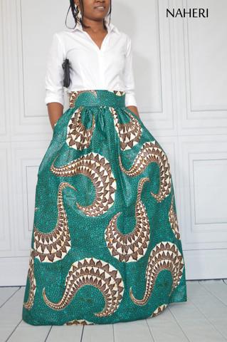African print maxi skirt ankara TANA handmade skirt with sash/tie belt