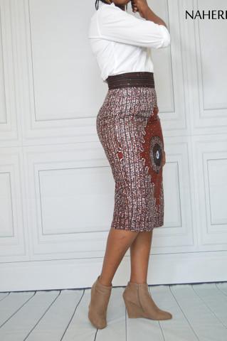 African pencil skirt - NINA ankara print midi skirt