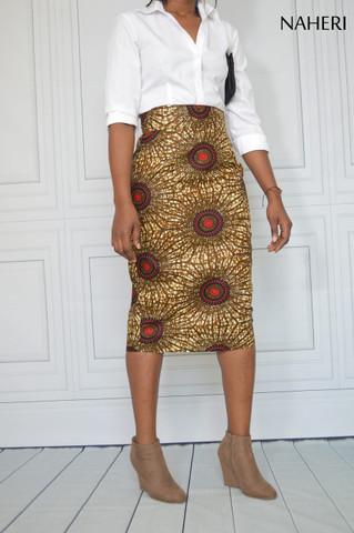 African print cotton pencil skirt - NINA ankara print skirt