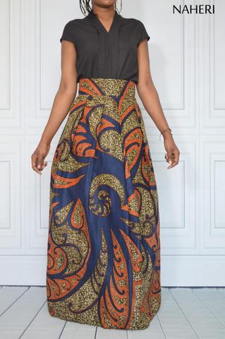 African print maxi skirt - ADILI pleated ankara skirt
