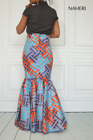 African print maxi skirt - ELLA mermaid ankara skirt