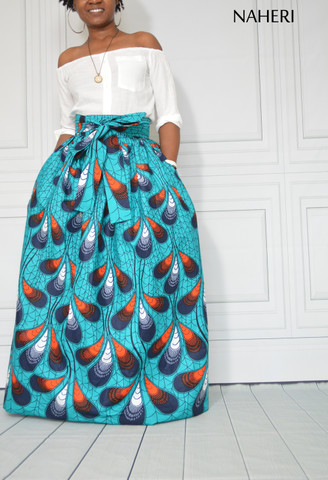 African print maxi skirt - PENZI blue ankara skirt with sash