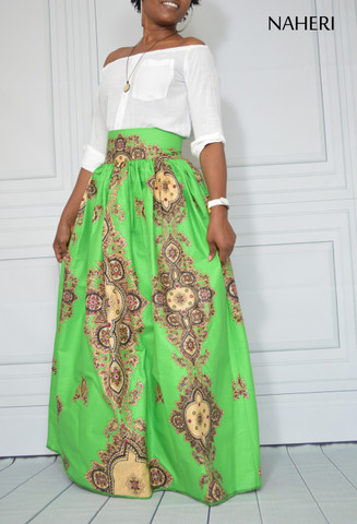 African print maxi skirt - LUNA green ankara skirt with sash/tie belt