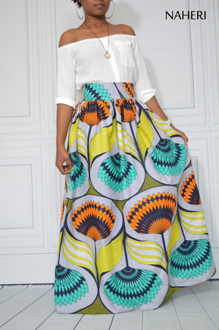 African print maxi skirt - KIKI ankara skirt with sash/tie belt