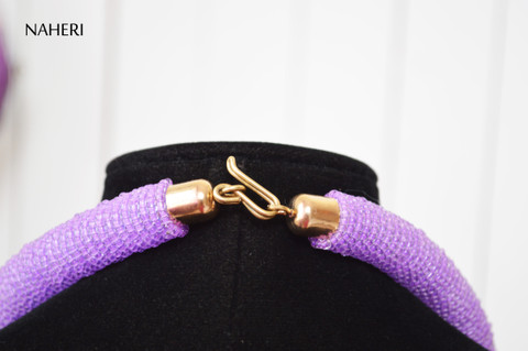African inspired purple tie necklace