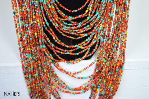 African beaded mixed color necklace