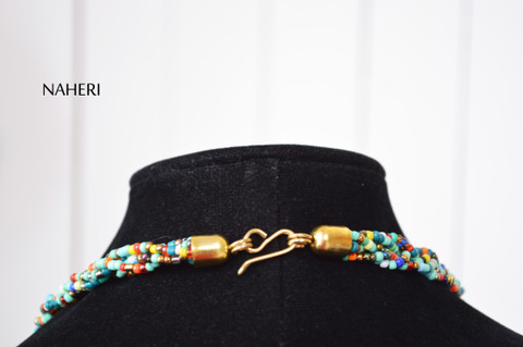 African maasai beaded necklace mixed beads with brass
