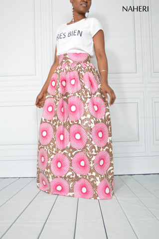 African print maxi skirt  HERI pink record tribal print skirt with sash/tie belt African fashion