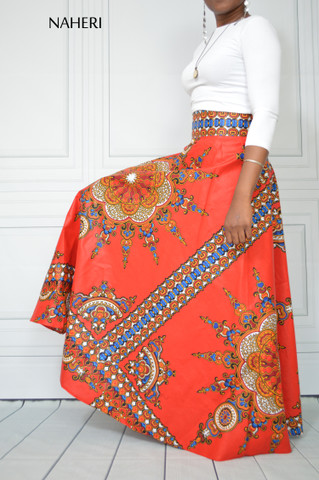 African print maxi skirt MEL red sunburst half circle maxi skirt