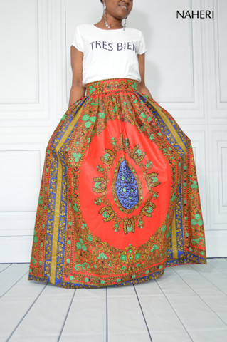 African print maxi skirt dashiki red ROSA red floral maxi skirt tribal print