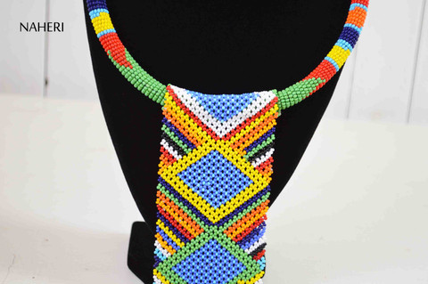 African zulu necklace maasai beaded fringe statement jewelry
