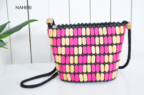 African wooden beads multicolored handbag
