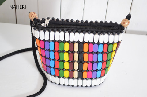 African inspired wooden beads handbag