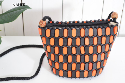 African cross body wooden beaded bag tribal naheri