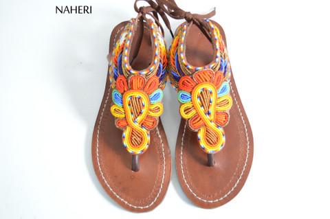 African beaded summer sandals multicolored handmade sandals naheri
