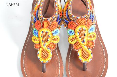 African beaded summer sandals multicolored handmade sandals naheri