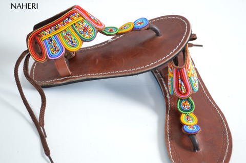 African beaded leather sandals multicolored handmade summer sandals naheri