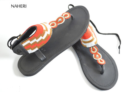 African beaded sandals handmade summer sandals  - ZUBERI