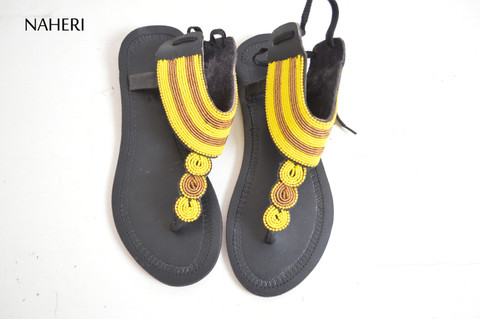 African summer sandals handmade beaded sandals naheri