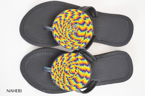 Maasai beaded handmade leather sandals slip ons naheri