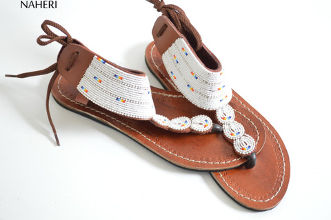 Beaded African sandals handmade tribal shoes summer sandals naheri