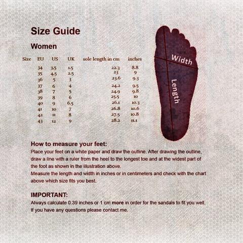 shoe size chart naheri