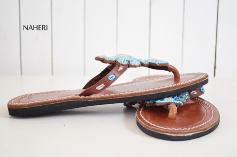 Maasai beaded African sandals handmade leather slip ons - LIZA