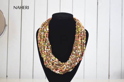 African beaded multicolored necklace chunky designer neck piece