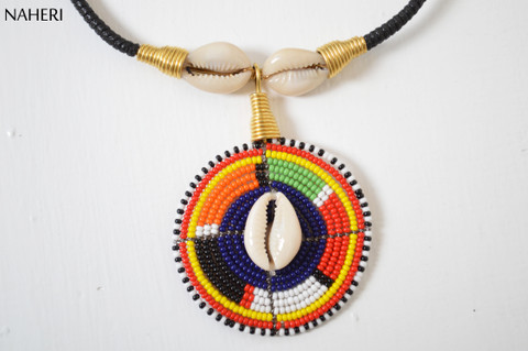 African beaded maasai cowrie shell pendant necklace  tribal jewelry
