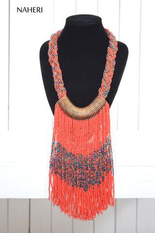 African inspired beaded necklace red tribal fringe jewelry