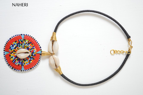 African tribal pendant necklace maasai beaded cowrie jewelry