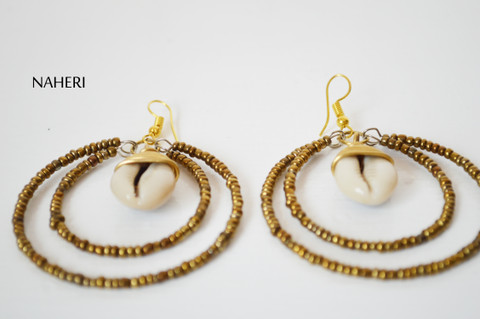 African beaded earrings with cowrie shell tribal jewelry