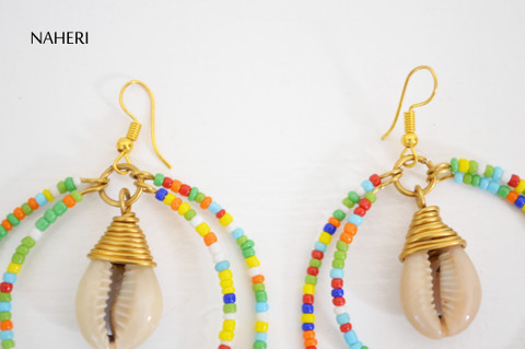 African earrings with cowrie shell multicolored beads designer jewelry