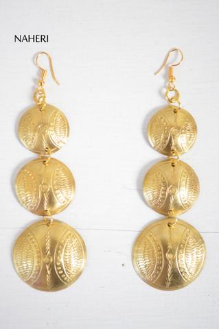 African engraved earrings handmade brass metal jewelry