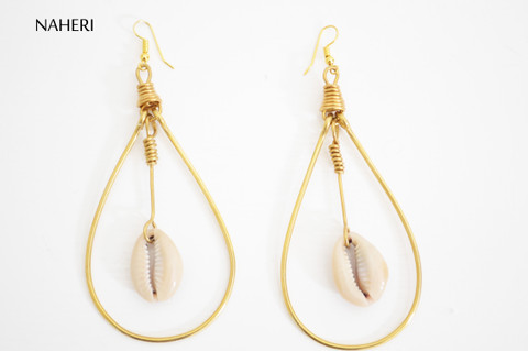 African earrings brass and cowrie shell tribal jewelry