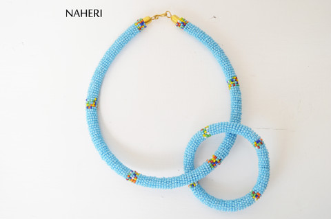 African beaded sky blue necklace with bracelet tribal