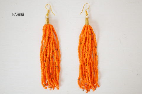 African beaded tassel earrings orange