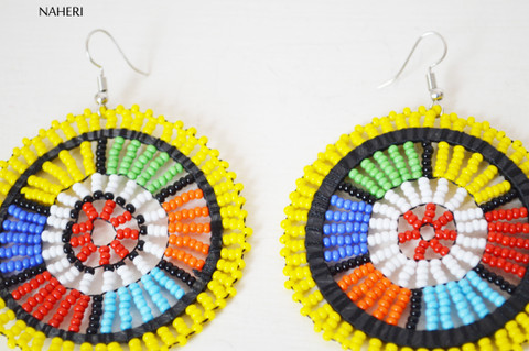 African yellow zulu maasai beaded round earrings African jewelry