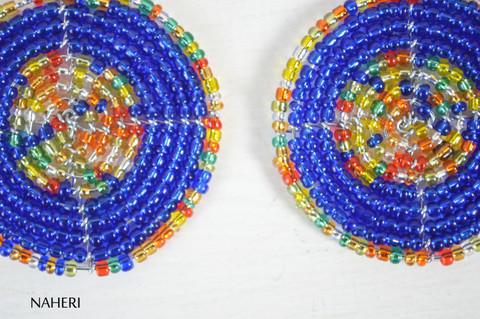 African handmade earrings beaded royal blue jewelry