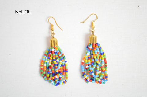 African beaded earrings multicolored tribal jewelry