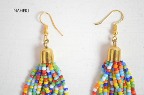 African beaded earrings multicolored tribal jewelry