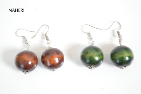 African wooden earrings round multicolored tribal jewelry