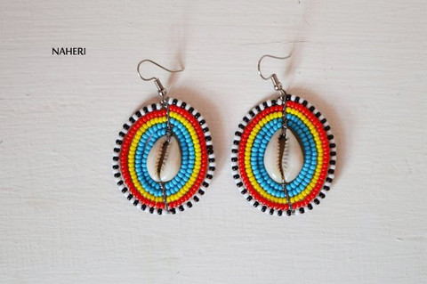 African beaded jewelry round earrings with cowrie shell
