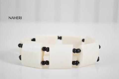 African tribal white bone bracelet elastic naheri jewelry