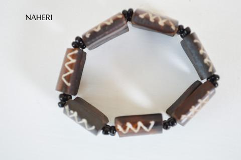 African tribal engraved bone bracelet elastic jewelry naheri